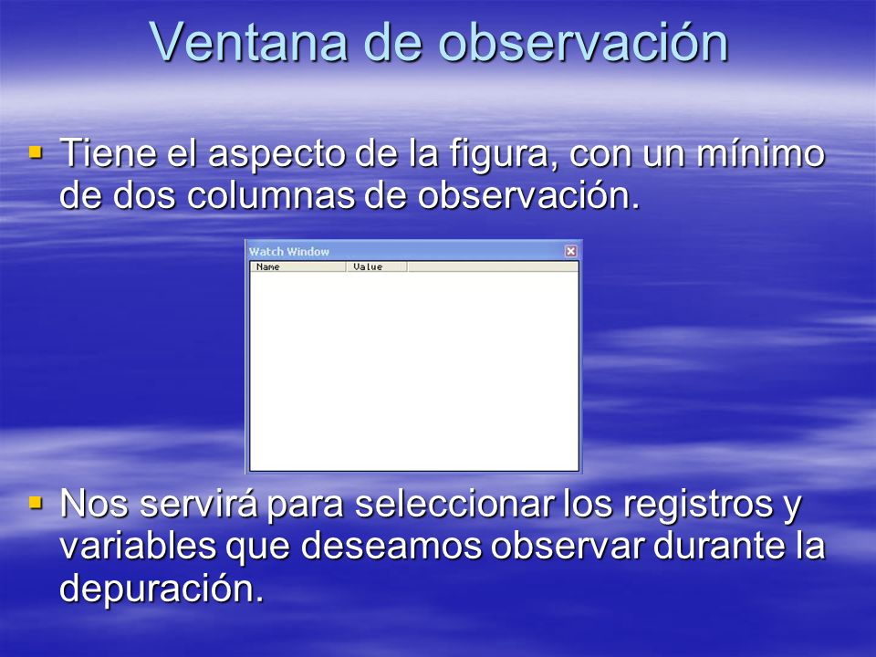 Ventana de observación Tiene el aspecto de la figura, con un mínimo de dos columnas de observación. Tiene el aspecto de la figura, con un mínimo de do