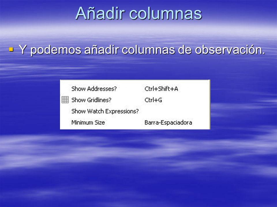 Añadir columnas Y podemos añadir columnas de observación. Y podemos añadir columnas de observación.