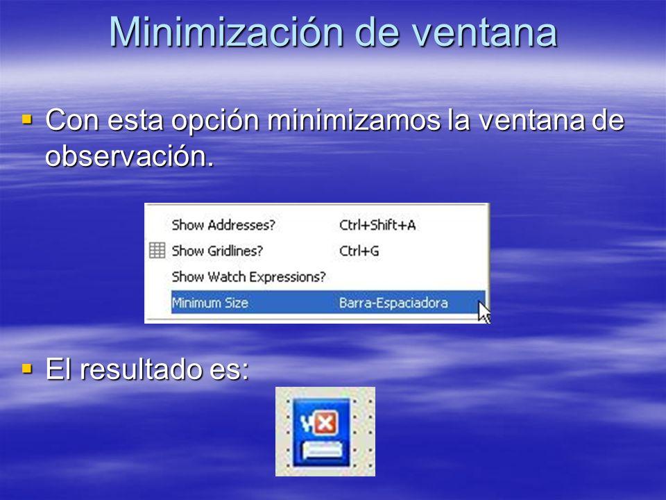 Minimización de ventana Con esta opción minimizamos la ventana de observación. Con esta opción minimizamos la ventana de observación. El resultado es: