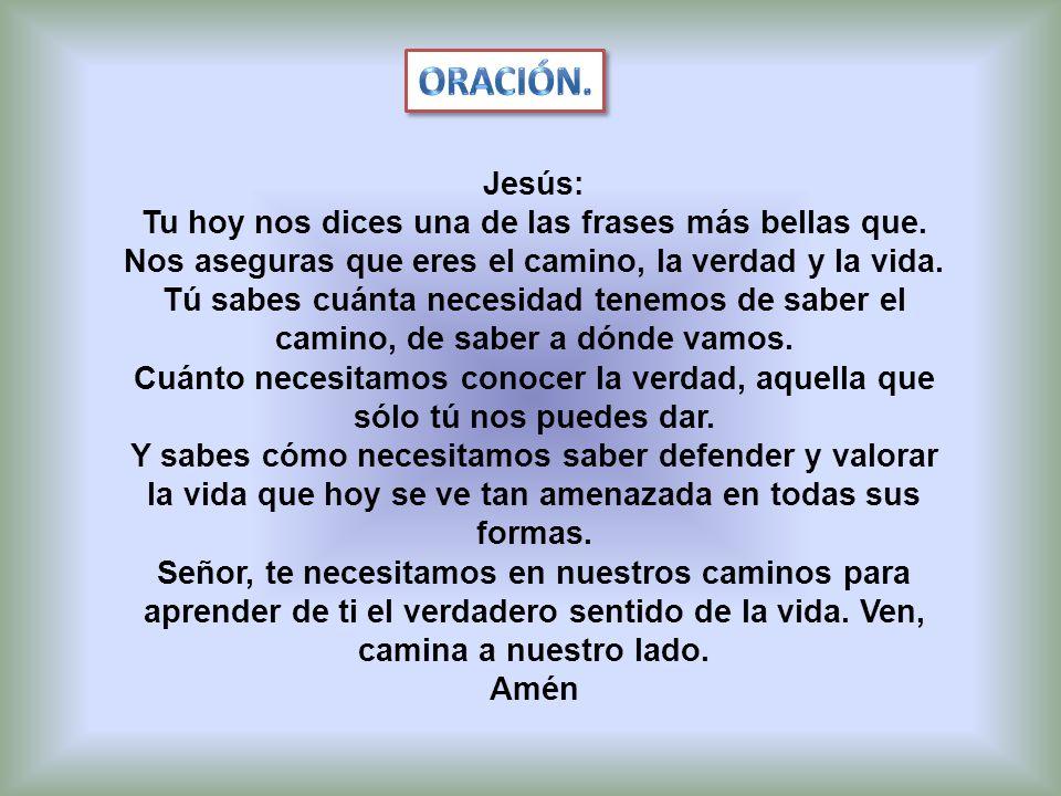 Jesús: Tu hoy nos dices una de las frases más bellas que. Nos aseguras que eres el camino, la verdad y la vida. Tú sabes cuánta necesidad tenemos de s