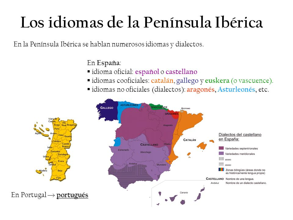 Los idiomas de la Península Ibérica En la Península Ibérica se hablan numerosos idiomas y dialectos. En España : idioma oficial: español o castellano