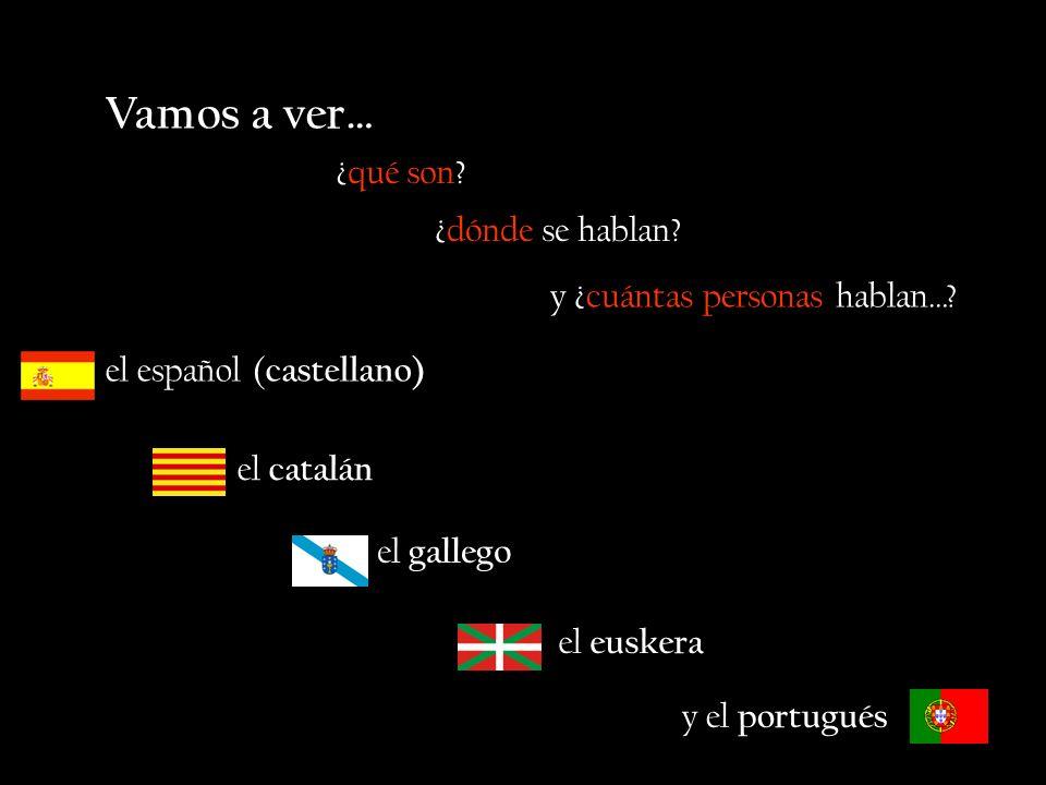 Vamos a ver… el español ( castellano) ¿qué son? ¿dónde se hablan? y ¿cuántas personas hablan…? el catalán el gallego el euskera y el portugués