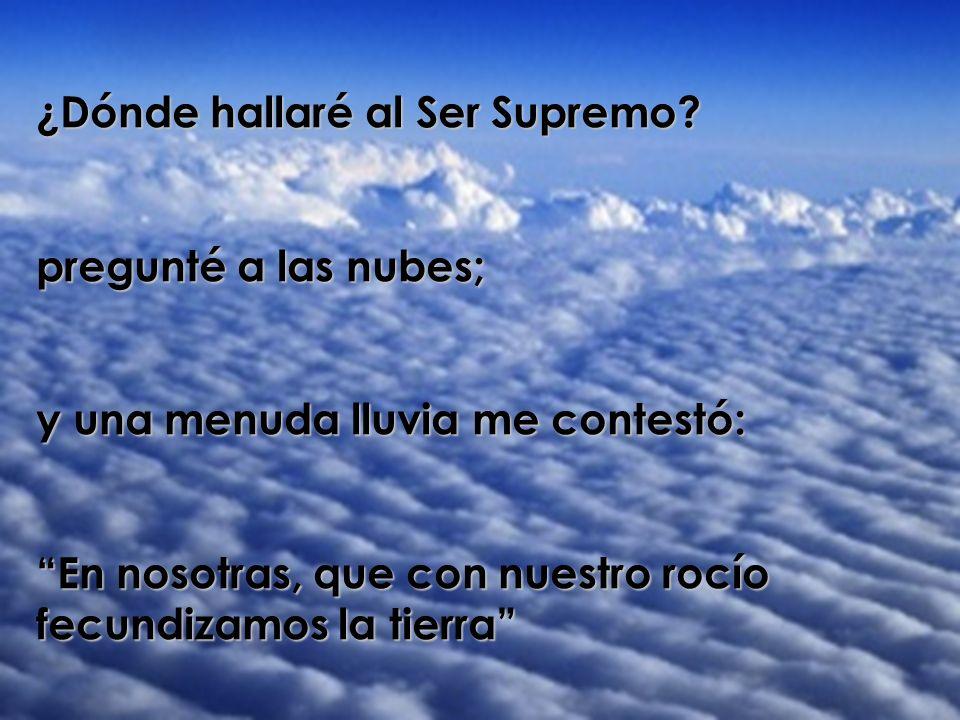 ¿Dónde hallaré al Ser Supremo? pregunté a las nubes; y una menuda lluvia me contestó: En nosotras, que con nuestro rocío fecundizamos la tierra