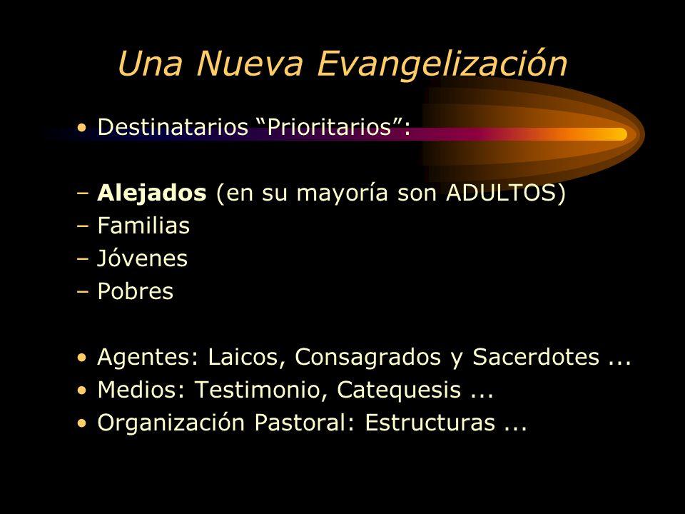Una Nueva Evangelización Destinatarios Prioritarios: –Alejados (en su mayoría son ADULTOS) –Familias –Jóvenes –Pobres Agentes: Laicos, Consagrados y Sacerdotes...