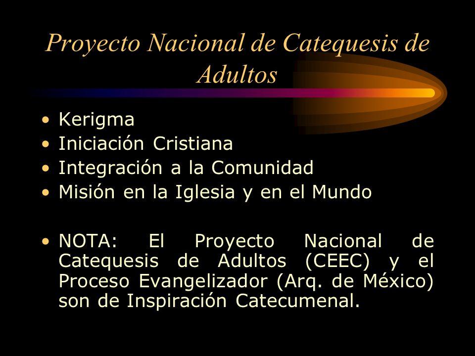 Proyecto Nacional de Catequesis de Adultos Kerigma Iniciación Cristiana Integración a la Comunidad Misión en la Iglesia y en el Mundo NOTA: El Proyecto Nacional de Catequesis de Adultos (CEEC) y el Proceso Evangelizador (Arq.