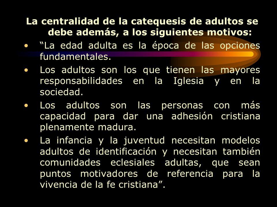 La centralidad de la catequesis de adultos se debe además, a los siguientes motivos: La edad adulta es la época de las opciones fundamentales.
