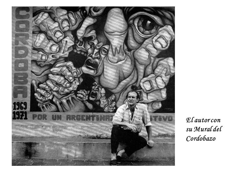 El autor con su Mural del Cordobazo