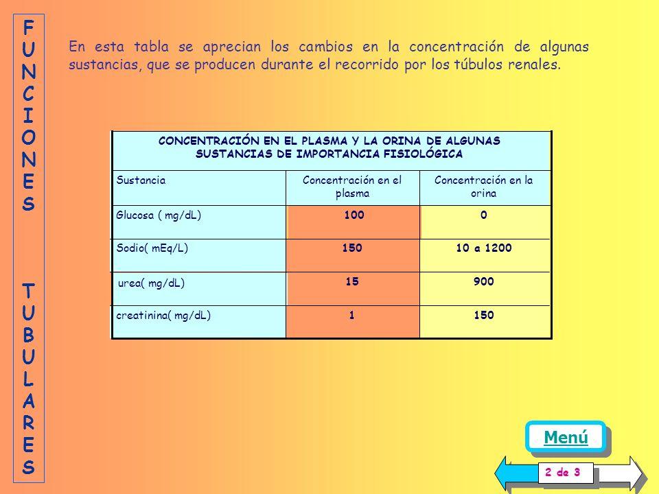 CONCENTRACIÓN EN EL PLASMA Y LA ORINA DE ALGUNAS SUSTANCIAS DE IMPORTANCIA FISIOLÓGICA 1501creatinina( mg/dL) 90015 urea( mg/dL) 10 a 1200150Sodio( mEq/L) 0 100 Glucosa ( mg/dL) Concentración en la orina Concentración en el plasma Sustancia En esta tabla se aprecian los cambios en la concentración de algunas sustancias, que se producen durante el recorrido por los túbulos renales.
