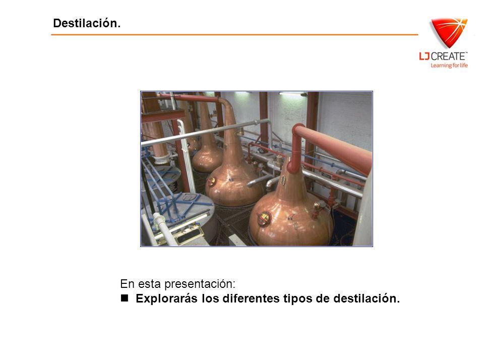 Destilación Destilación. En esta presentación: Explorarás los diferentes tipos de destilación.