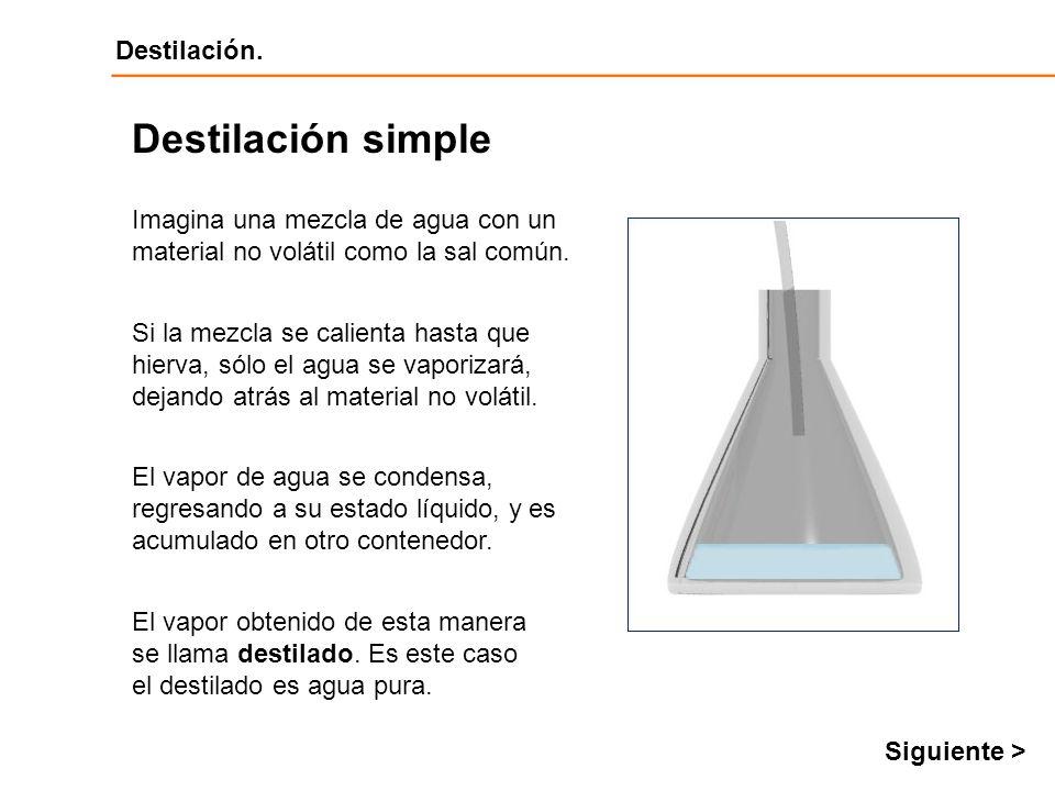 Destilación Destilación. Imagina una mezcla de agua con un material no volátil como la sal común. Destilación simple Si la mezcla se calienta hasta qu