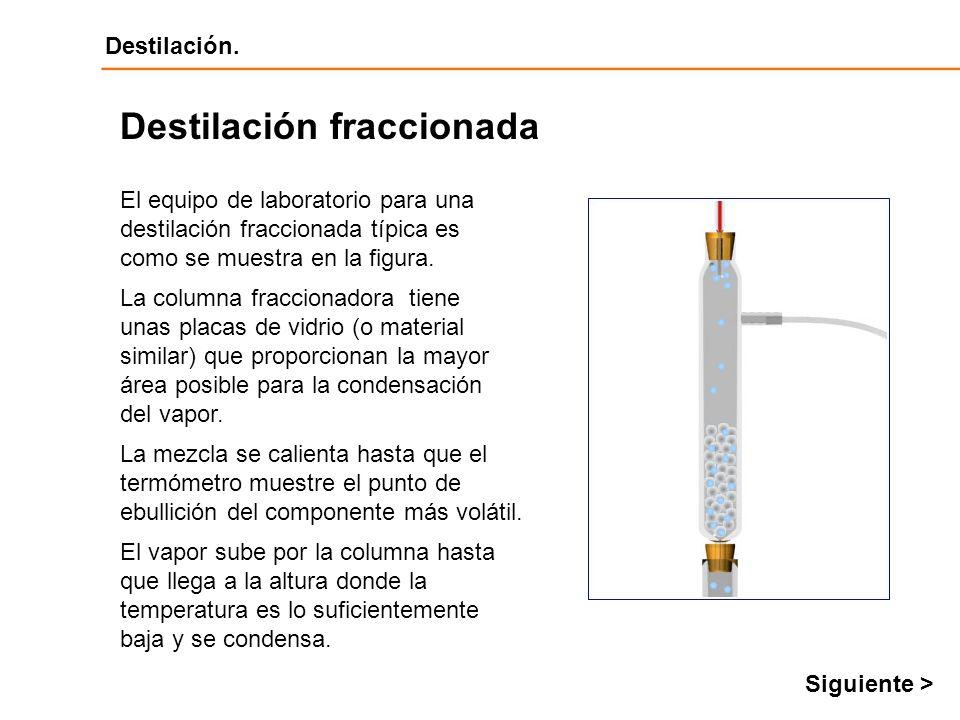 Destilación Destilación. El equipo de laboratorio para una destilación fraccionada típica es como se muestra en la figura. Destilación fraccionada La