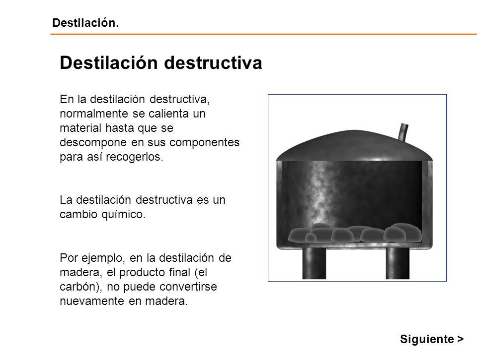 Destilación Destilación. En la destilación destructiva, normalmente se calienta un material hasta que se descompone en sus componentes para así recoge