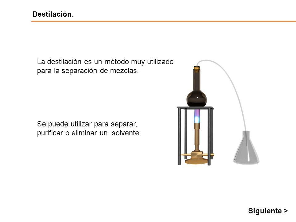 Destilación Destilación. Se puede utilizar para separar, purificar o eliminar un solvente. La destilación es un método muy utilizado para la separació