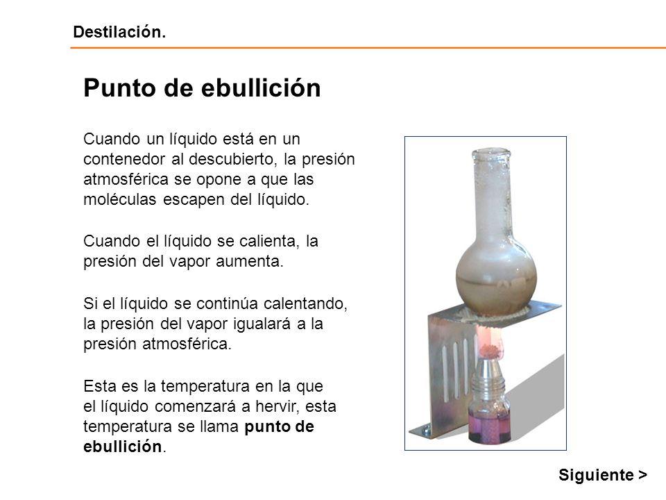Destilación Destilación. Cuando un líquido está en un contenedor al descubierto, la presión atmosférica se opone a que las moléculas escapen del líqui