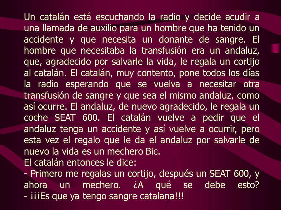 Un catalán está escuchando la radio y decide acudir a una llamada de auxilio para un hombre que ha tenido un accidente y que necesita un donante de sangre.