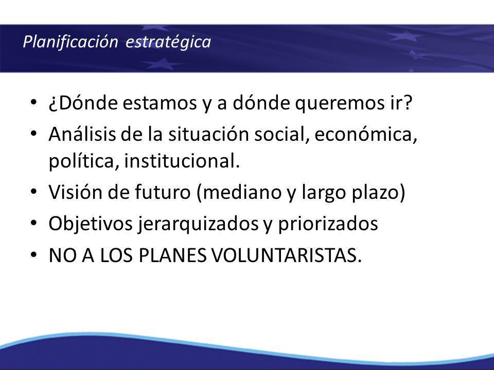 Planificación estratégica ¿Dónde estamos y a dónde queremos ir? Análisis de la situación social, económica, política, institucional. Visión de futuro
