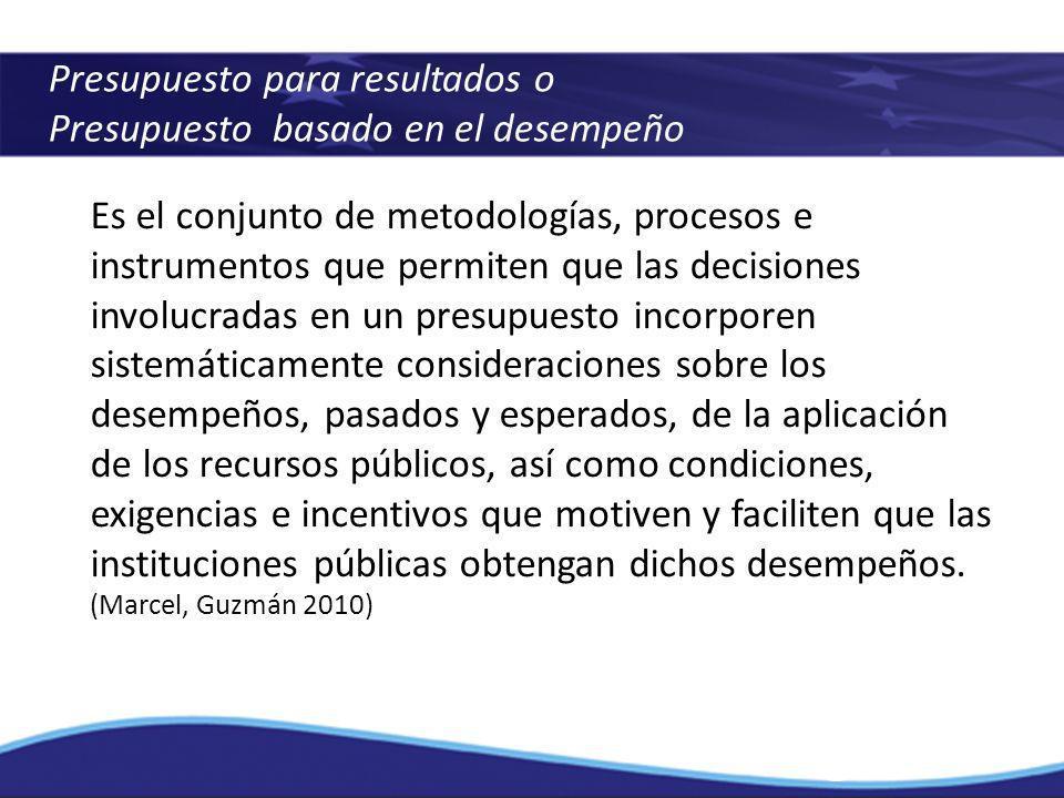 Presupuesto para resultados o Presupuesto basado en el desempeño Es el conjunto de metodologías, procesos e instrumentos que permiten que las decision