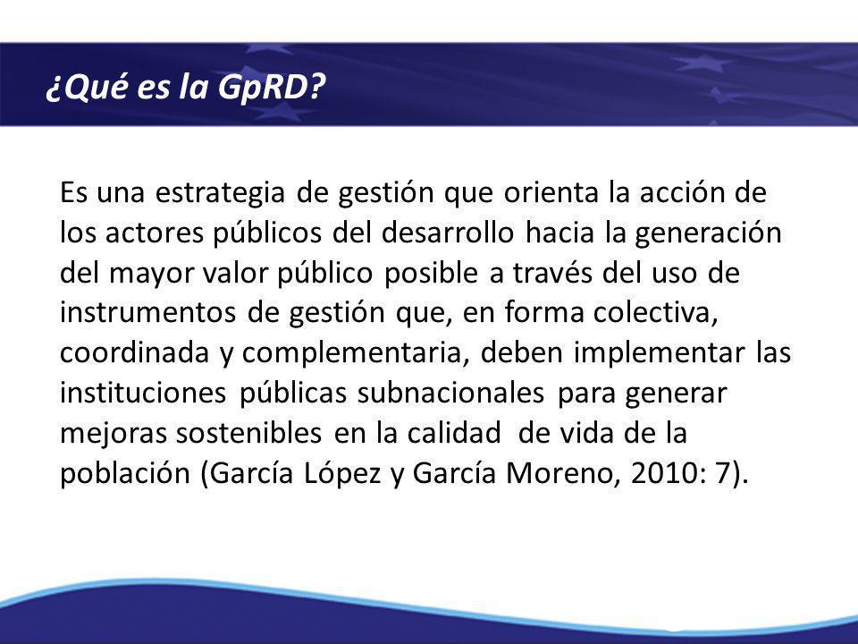 ¿Qué es la GpRD? Es una estrategia de gestión que orienta la acción de los actores públicos del desarrollo hacia la generación del mayor valor público