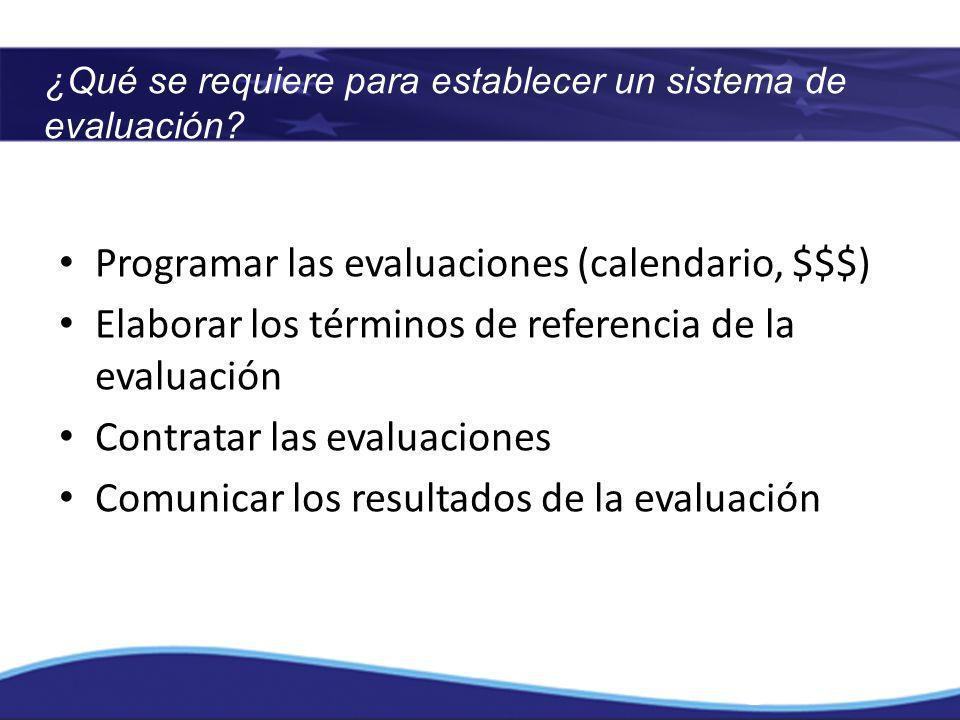 ¿Qué se requiere para establecer un sistema de evaluación? Programar las evaluaciones (calendario, $$$) Elaborar los términos de referencia de la eval