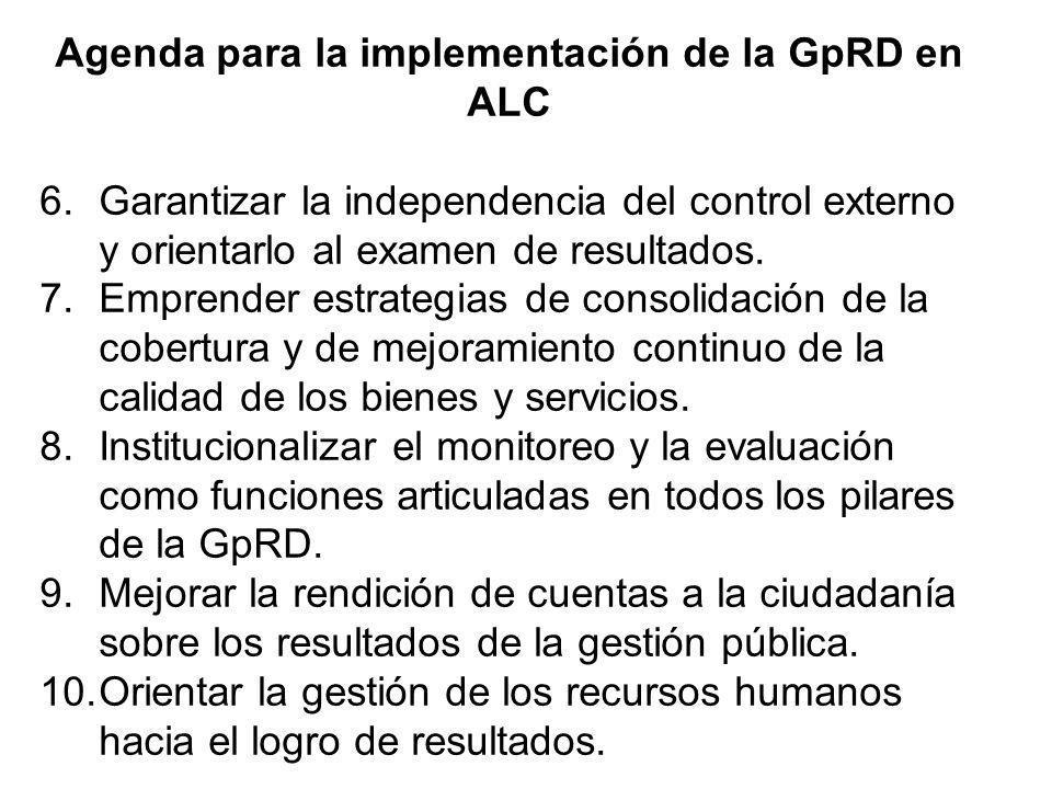 Agenda para la implementación de la GpRD en ALC 6.Garantizar la independencia del control externo y orientarlo al examen de resultados. 7.Emprender es