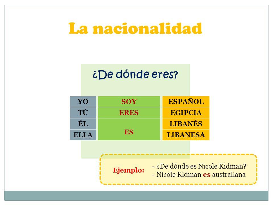 La nacionalidad EspañolFrancésItaliano PortuguésInglésAlemán GriegoSuecoSuizo EgipcioSirioLibanés TunecinoMarroquíSaudí AustralianoCanadienseEstadounidense - ¿De dónde es Nicole Kidman.