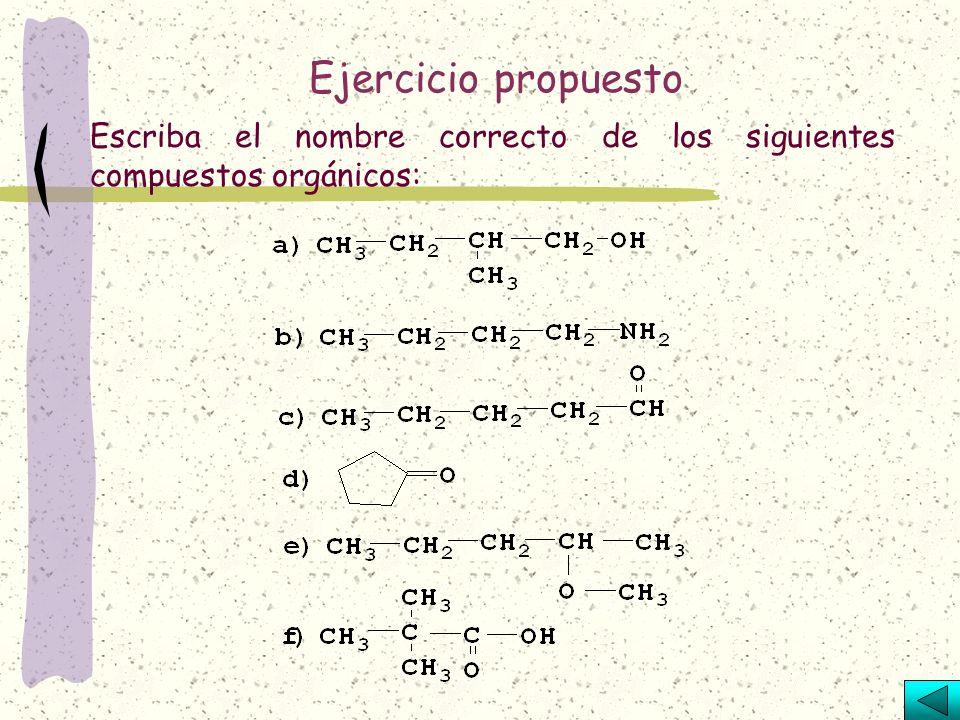 Relacione ambas columnas identificando a que función orgánica pertenece cada una de las fórmulas: 1.R-X 2.R-OH 3.R-NH 2 4.R-CHO 5.R-COOH 6.R-CO-R´ 7.R