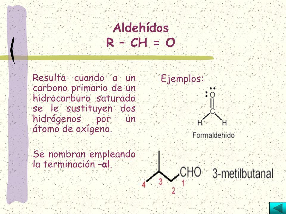 Alcoholes R - OH Resultan de la sustitución de un hidrógeno en un hidrocarburo por el radical oxihidrilo –OH. Los nombres de los alcoholes se forman c