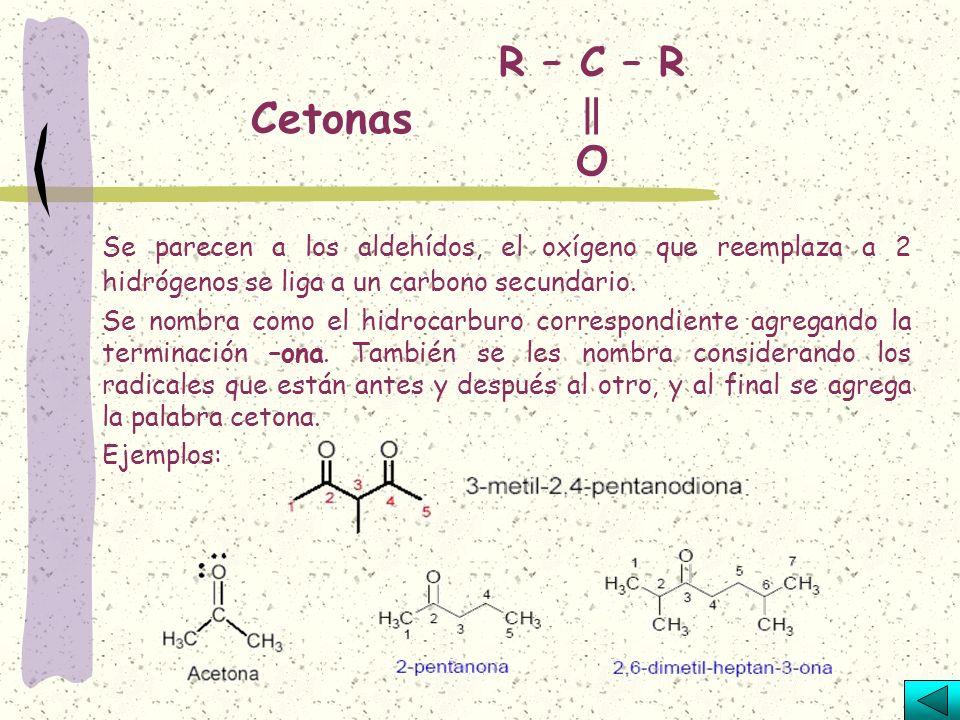 Aldehídos R – CH = O Resulta cuando a un carbono primario de un hidrocarburo saturado se le sustituyen dos hidrógenos por un átomo de oxígeno. Se nomb