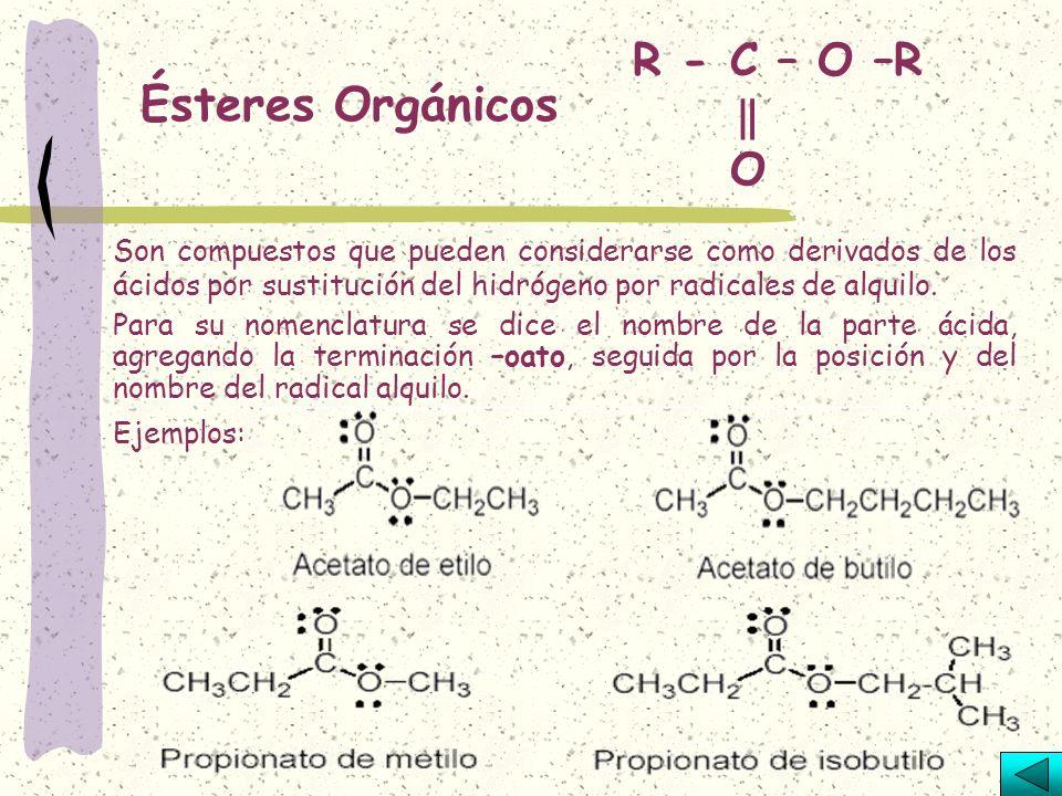 Ácidos Orgánicos R - COOH Son compuestos derivados de los aldehídos por adición de otro átomo de oxígeno. Se nombran como los hidrocarburos que les co