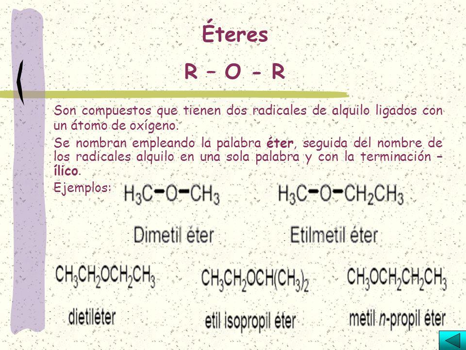 R - C – O –R O Son compuestos que pueden considerarse como derivados de los ácidos por sustitución del hidrógeno por radicales de alquilo. Para su nom