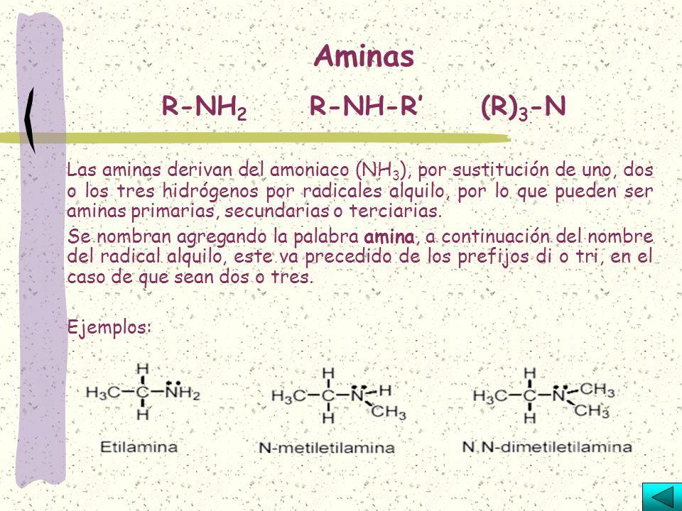 Son compuestos que tienen dos radicales de alquilo ligados con un átomo de oxígeno. Se nombran empleando la palabra éter, seguida del nombre de los ra