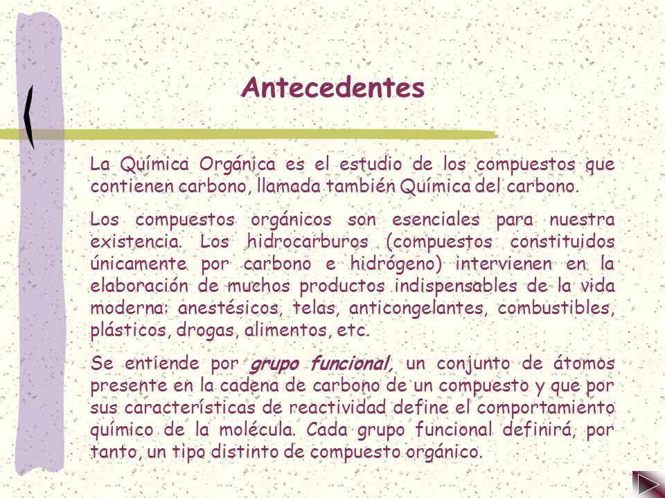 Antecedentes La Química Orgánica es el estudio de los compuestos que contienen carbono, llamada también Química del carbono.