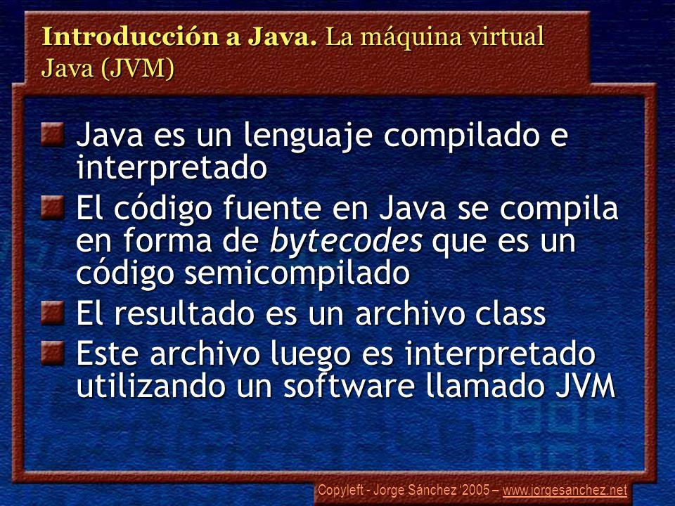 Copyleft - Jorge Sánchez 2005 – www.jorgesanchez.netwww.jorgesanchez.net Introducción a Java. La máquina virtual Java (JVM) Java es un lenguaje compil