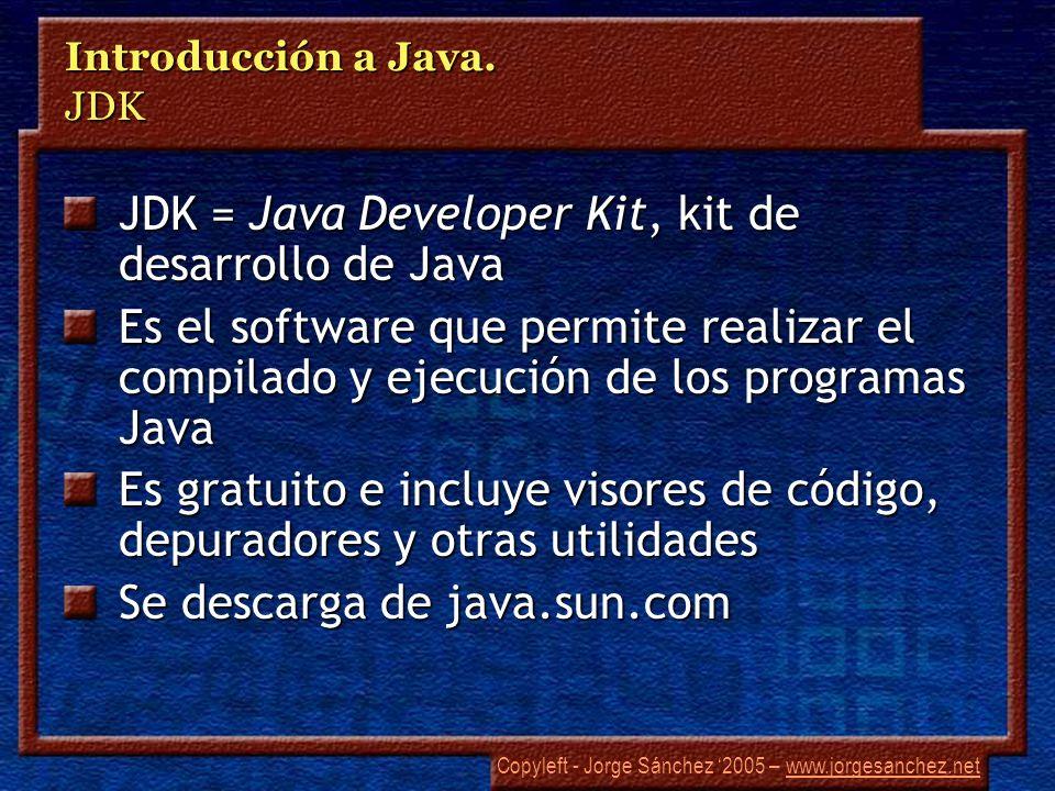 Copyleft - Jorge Sánchez 2005 – www.jorgesanchez.netwww.jorgesanchez.net Introducción a Java. JDK JDK = Java Developer Kit, kit de desarrollo de Java