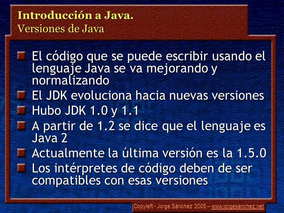 Copyleft - Jorge Sánchez 2005 – www.jorgesanchez.netwww.jorgesanchez.net Introducción a Java. Versiones de Java El código que se puede escribir usando