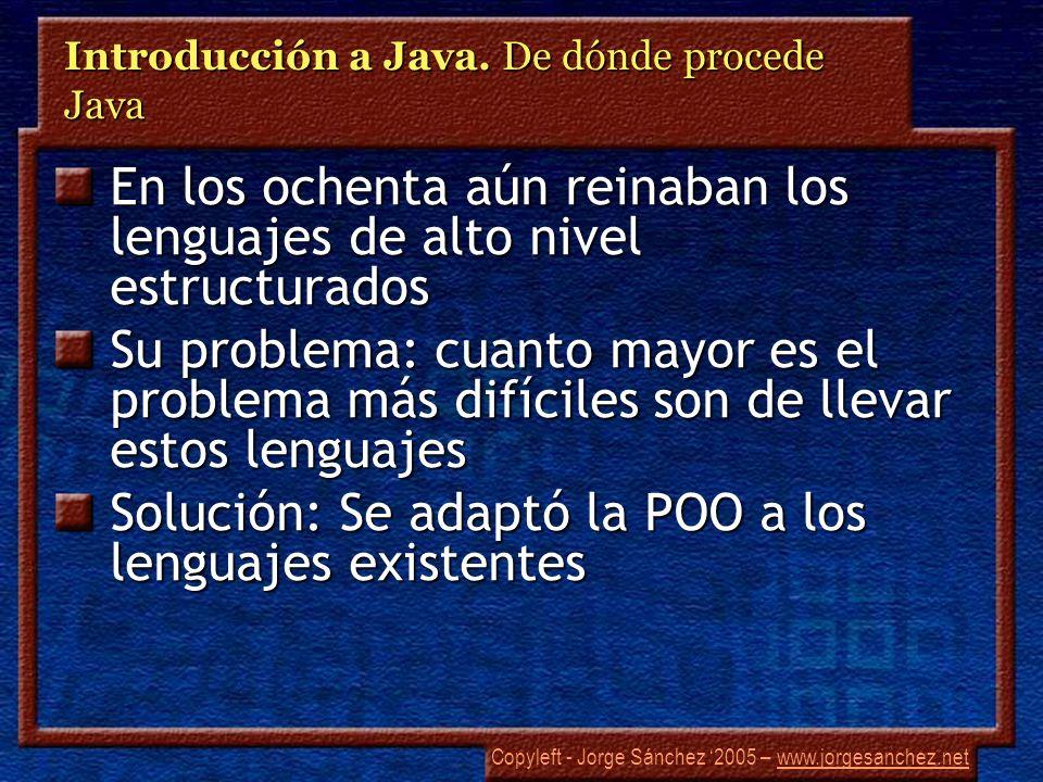 Copyleft - Jorge Sánchez 2005 – www.jorgesanchez.netwww.jorgesanchez.net Introducción a Java. De dónde procede Java En los ochenta aún reinaban los le
