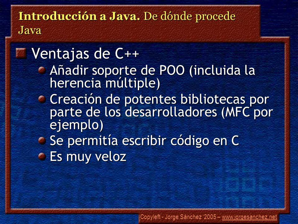 Copyleft - Jorge Sánchez 2005 – www.jorgesanchez.netwww.jorgesanchez.net Introducción a Java. De dónde procede Java Ventajas de C++ Añadir soporte de
