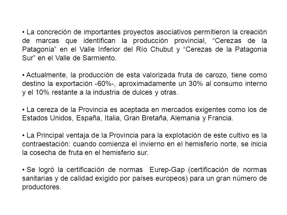 La concreción de importantes proyectos asociativos permitieron la creación de marcas que identifican la producción provincial, Cerezas de la Patagonia