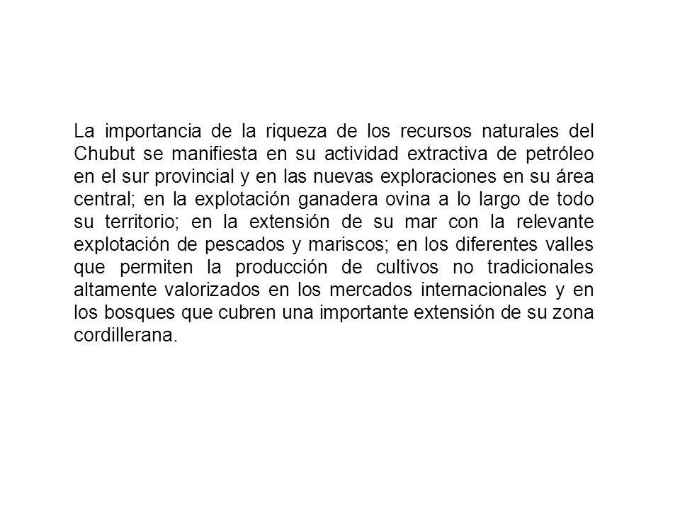 La importancia de la riqueza de los recursos naturales del Chubut se manifiesta en su actividad extractiva de petróleo en el sur provincial y en las n