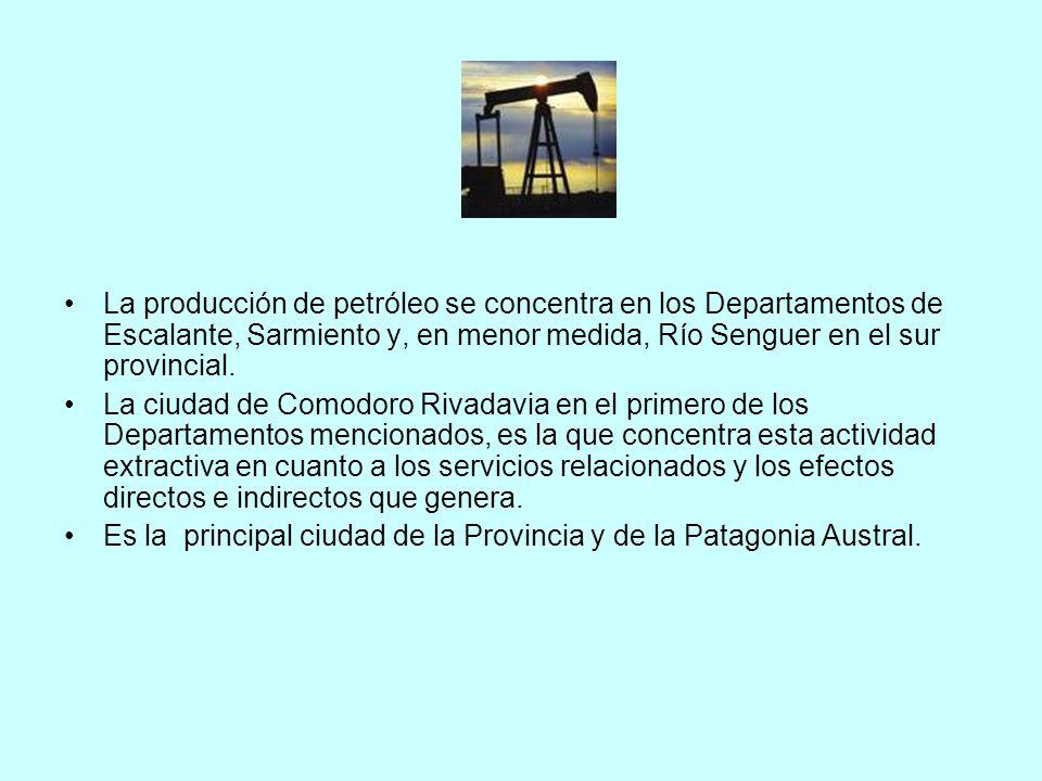 La producción de petróleo se concentra en los Departamentos de Escalante, Sarmiento y, en menor medida, Río Senguer en el sur provincial. La ciudad de