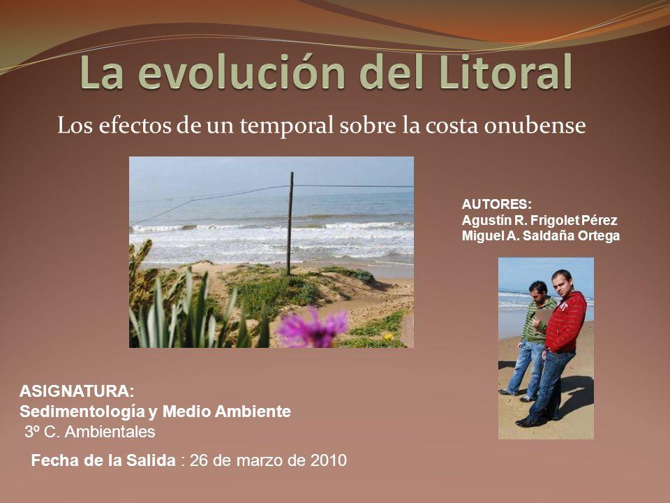 Los efectos de un temporal sobre la costa onubense AUTORES: Agustín R. Frigolet Pérez Miguel A. Saldaña Ortega ASIGNATURA: Sedimentología y Medio Ambi