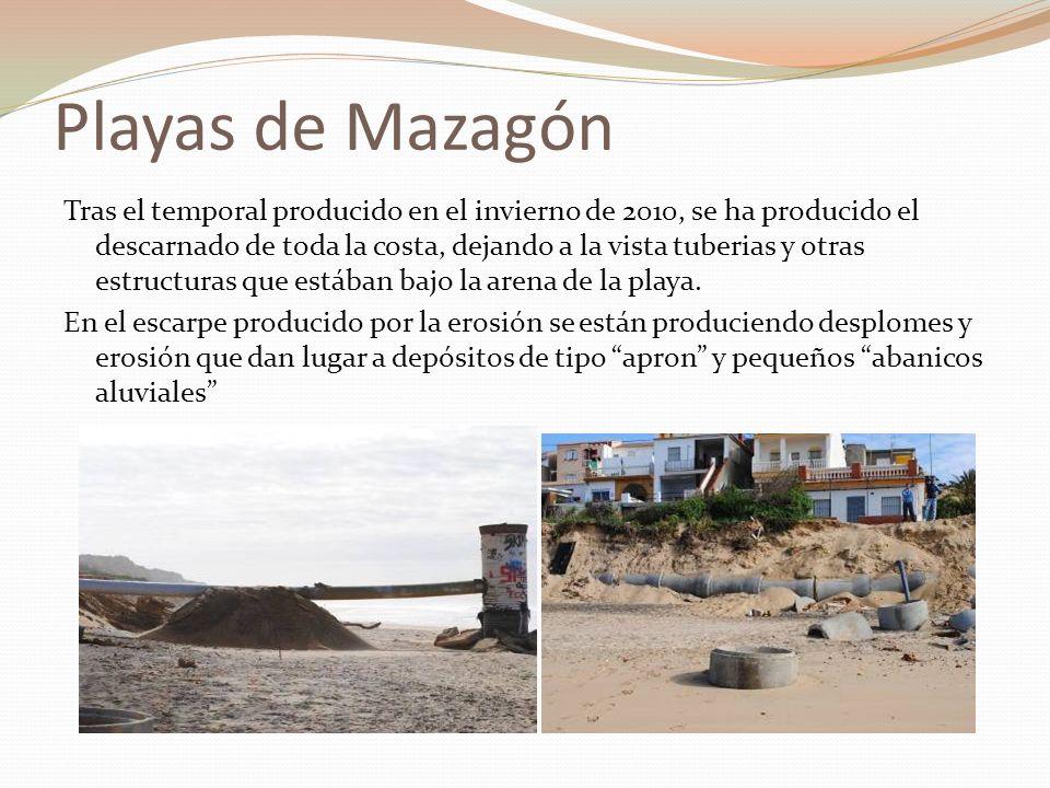 Playas de Mazagón Tras el temporal producido en el invierno de 2010, se ha producido el descarnado de toda la costa, dejando a la vista tuberias y otr