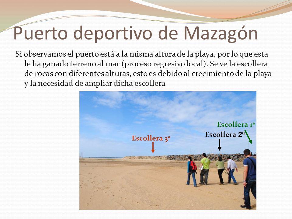 Puerto deportivo de Mazagón Si observamos el puerto está a la misma altura de la playa, por lo que esta le ha ganado terreno al mar (proceso regresivo