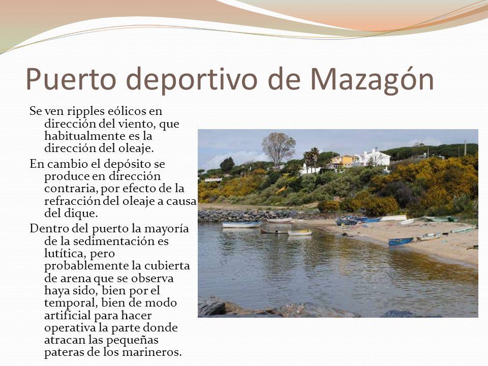 Puerto deportivo de Mazagón Se ven ripples eólicos en dirección del viento, que habitualmente es la dirección del oleaje. En cambio el depósito se pro