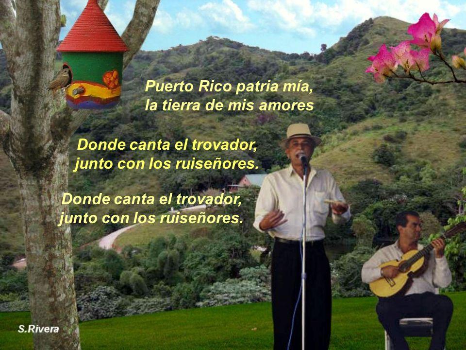 Puerto Rico patria mía, la tierra de mis amores Donde canta el trovador, junto con los ruiseñores.