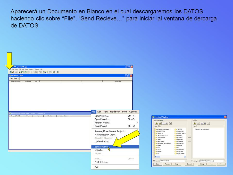 Aparecerá un Documento en Blanco en el cual descargaremos los DATOS haciendo clic sobre File, Send Recieve… para iniciar lal ventana de dercarga de DATOS
