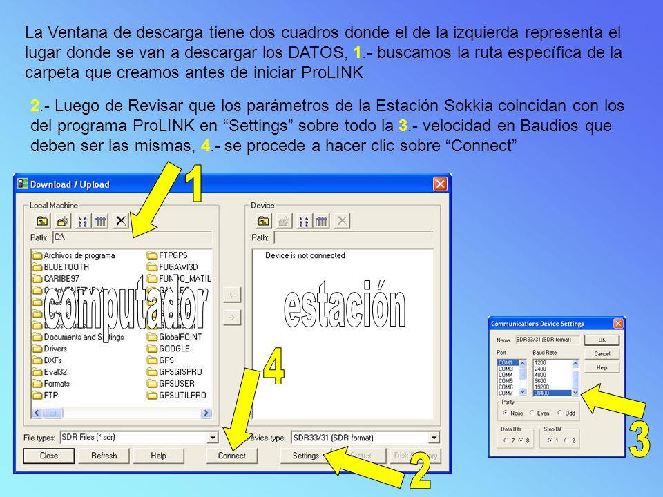 La Ventana de descarga tiene dos cuadros donde el de la izquierda representa el lugar donde se van a descargar los DATOS, 1.- buscamos la ruta específica de la carpeta que creamos antes de iniciar ProLINK 2.- Luego de Revisar que los parámetros de la Estación Sokkia coincidan con los del programa ProLINK en Settings sobre todo la 3.- velocidad en Baudios que deben ser las mismas, 4.- se procede a hacer clic sobre Connect