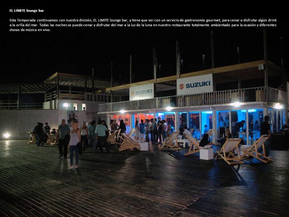 EL LIMITE lounge bar Esta Temporada continuamos con nuestra división, EL LIMITE lounge bar, y tiene que ver con un servicio de gastronomía gourmet, para cenar o disfrutar algún drink a la orilla del mar.