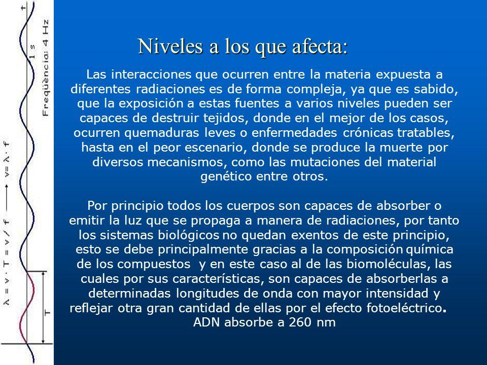 Niveles a los que afecta: Las interacciones que ocurren entre la materia expuesta a diferentes radiaciones es de forma compleja, ya que es sabido, que