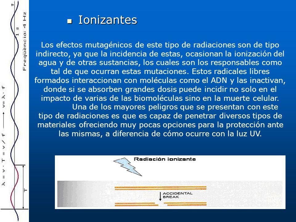 Ionizantes Ionizantes Los efectos mutagénicos de este tipo de radiaciones son de tipo indirecto, ya que la incidencia de estas, ocasionan la ionización del agua y de otras sustancias, los cuales son los responsables como tal de que ocurran estas mutaciones.